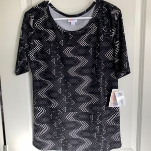 Grey and White Patterned Top
